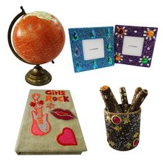 """Christmas Gift Lot Globe, Photo Frame, Pen Pot, Diary Decorative Material Mdf Lac Handmade Table Topper Home Décor Multicolor Set of 4 Pcs. Beautiful Handmade gift lot which include Globe, Diary, Pen Pot and Photo Frame. This ethnic gift lot combine traditional with a modern design, a great accessory for traditional touch. Material, Size and Color- Globe : Material-Plastic and Iron, Size-Stand -12"""" and Plastic Ball-8"""" Inches, Color-Brown and Beige Diary : Material-Satin and Lac…"""
