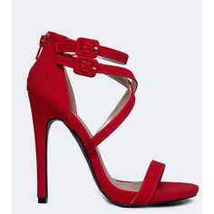 GLEE-152 SANDAL ($30) ❤ liked on Polyvore featuring shoes, sandals, red, qupid shoes, qupid, red ankle strap shoes, red shoes and ankle strap sandals