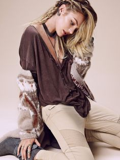 We The Free Borrowed Boyfriend Henley at Free People Clothing Boutique - Candice Swanepoel
