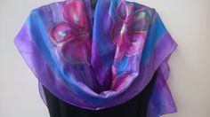 Cherry Blossoms Painted Silk Scarf for Ladies. by SilkLetters