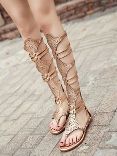 6f0588a468f9 Gold Gladiator Sandals Women Thong Beaded Cut Out Strappy Flat Sandals