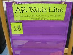 AR Quiz Line..Ss put number card in chart when ready to test