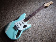 Fender Cyclone II guitar in Daphne Blue with White Competition Stripe (rare Mustang / Jaguar / Stratocaster hybrid)