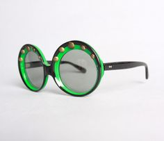 60s Round Green & Black SUNGLASSES / MOD by LuckyDryGoods on Etsy, $120.00