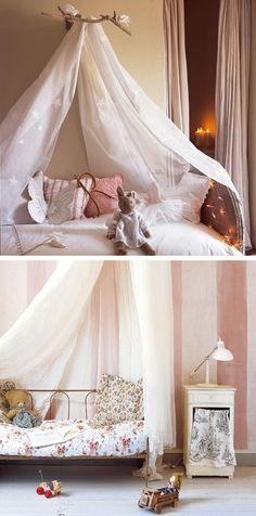 Soft pink girl's room with a cute canopy idea.