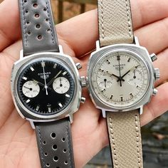 When it comes to the Camaro it's the 3-register Valjoux 72 models that take the limelight- but dial by ignore the two register models Photo by @watcheswithpatina #tagheuer #vintageheuer #heuercamaro #calibre11