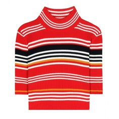 Alessandra Rich Striped Wool Cropped Turtleneck Sweater ($330) ❤ liked on Polyvore featuring tops, sweaters, red, red cropped sweater, turtleneck sweater, striped turtleneck, red sweater and red stripe sweater