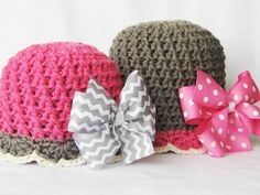 CROCHET PATTERN Bow-tastic Beanie with by YarnBlossomBoutique