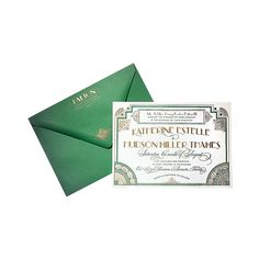 Brides.com: Wedding Color Scheme: Emerald and Gold. Vintage-style wedding invitation, $1,163 for 100 sets, Lucky Luxe