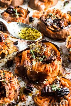Herb and Garlic Butter Smashed Sweet Potatoes