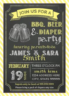 Couples BABY SHOWER invitation bbq Beer and Diaper Party BBQ baby shower