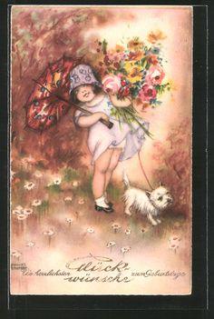 Künstler-AK Hannes Petersen: kleines Mädchen mit Hund und einem Blumenstrauss…