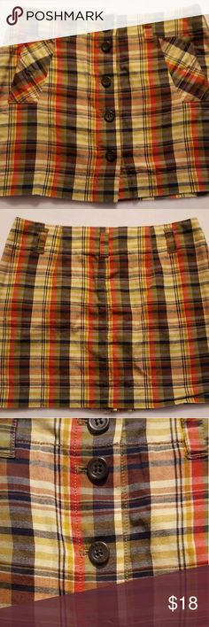 J.Crew Plaid Skirt J.Crew Button Front Plaid Mini Skirt Front Pockets , missing one of the pocket buttons , size 4 J. Crew Skirts