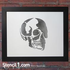 Make someone a piece of art for Halloween! Skull profile stencil available at Stencil1.com