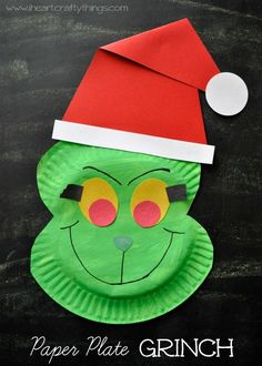 Make a Grinch Craft out of a paper plate. Fun Christmas Craft for kids and goes along great with Dr Seuss' How the Grinch Stole Christmas. From I Heart Crafty Things.