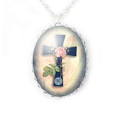 Rose Cross Monogram Necklace, Religious Christian Personalized Jewelry