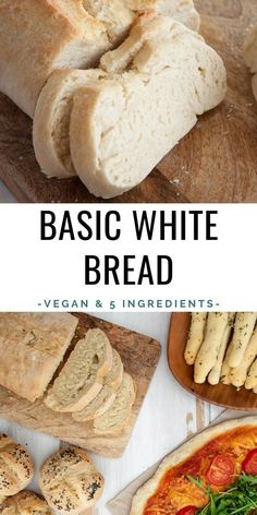 Basic White Bread with only 5 ingredients – Super soft, very versatile, delicious, quick and easy! Breakfast Bread Recipes, Easy Bread Recipes, Dairy Free Recipes, Raw Food Recipes, Dessert Recipes, Easy Vegan Bread Recipe, Healthy Recipes, Vegetarian Recipes, Healthy Food