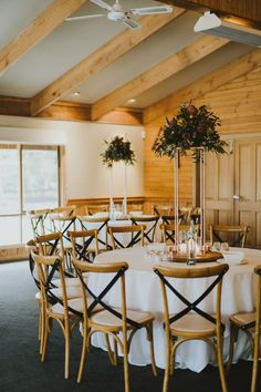 Wedding reception decor with wooden chairs   NICOLA