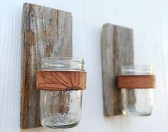BRANDED JAR SCONCE, made of rustic reclaimed wood fence picket