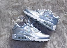 Nike Air Max 90 Silver Shoes Made with by CrystallizedKicks Air Max 90, Nike Air Max, Cool Trainers, Air Max Sneakers, Sneakers Nike, Silver Shoes, Swarovski Crystals, Kicks, Trending Outfits