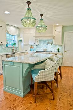 turquoise kitchen by Kevin Thayer Interior Design