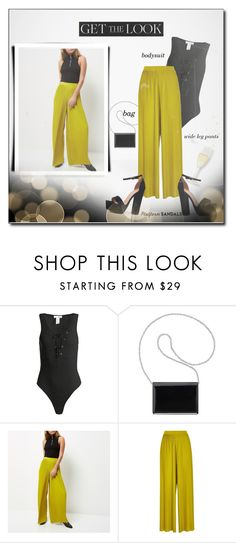 """Get the look..."" by fashionlibra84 ❤ liked on Polyvore featuring Sans Souci, Nine West, River Island, Boohoo, bag, platforms, bodysuit and widelegpants"