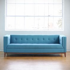 Gus Modern Awesome Blue Mid Century Inspired Couch