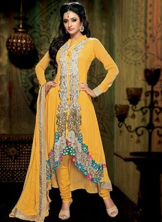 Yellow Embroidered Georgette Churidar Suit