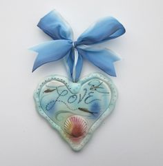 Beachy Love Heart by larkpottery on Etsy