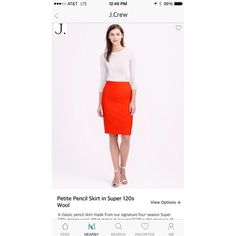 "minerapp on Instagram: ""Looking to add a little summer color to your wardrobe? This #jcrew bright orange pencil skirt should do the trick."""