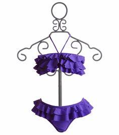 To The 9's Tween Purple Ruffled Bandeau Bikini