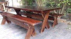 conjunto mesa rustica de madeira com 2 bancos 2 metros