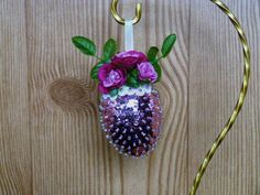 Easter Sequin And Bead Egg Ornament Pink Roses by HometownUSA