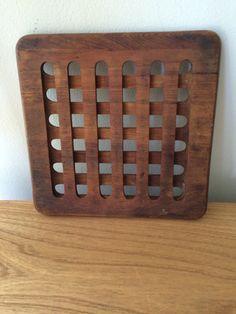 Mid Century Modern Square Lattice Wood Trivet by Vintagekindofgirl