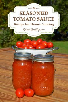 No store bought tomato sauce compares with the flavor of homemade. This is the seasoned tomato sauce recipe and method I use to home can the tomato harvest. Chutneys, Types Of Tomatoes, Green Tomatoes, Home Canning, Canning 101, Pressure Canning, Food Mills, Canning Tomatoes, Canning Tomato Juice