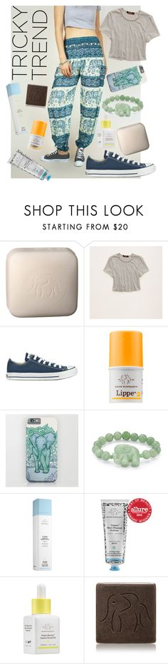 """""""Pajama Trunks"""" by rachael-aislynn ❤ liked on Polyvore featuring Drunk Elephant, Aerie, Converse, Palm Beach Jewelry, TrickyTrend, Beauty, comfy and casualoutfit"""