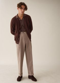 Amo Cardigan Cashmere - Brown - Streetwear Fashion Trends, Outfit Ideas, Men and Women Models 70s Fashion Men, 70s Inspired Fashion, Look Fashion, Fashion Outfits, Vintage Fashion Men, Vintage Men, Modern 50s Fashion, Brown Fashion, Retro Outfits