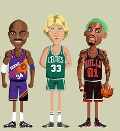 NBA Legends - Noble. (www.behance.net/nobleone) Charles Barkley, Larry Bird, Dennis Rodman