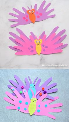 BUTTERFLY HANDPRINT CARDS - such a cute Mother's Day Craft for kids! Perfect for preschool or kindergarten too! Learn how to make this easy butterfly handprint card. These are the perfect card for preschoolers to make for Mother's Day! Toddler Arts And Crafts, Mothers Day Crafts For Kids, Spring Crafts For Kids, Craft Activities For Kids, Baby Crafts, Easter Crafts, Holiday Crafts, Fun Crafts, Art For Kids