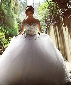 Vestidos De Noiva Casamento Sheer Long Sleeve Princess Ball Gown Wedding  Dresses 2015 Tulle Crystal Pearls Winter Plus Size df7e391b394c