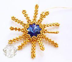 Free tutorial for beautiful beaded snowflake with rivoli Swarovski. U can use it likeornament or