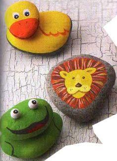 Painted animals on rocks.