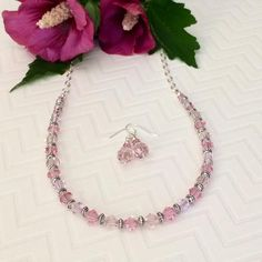 Pink Swarovski Necklace Set Swarovski Crystal Necklace