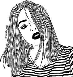 dessins de fille tumblr  | noir et blanc, lèvres noirs, boho, sombre, dessin, crayon à ...
