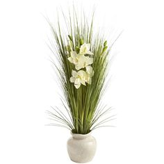 Pier One Orchids & Grass in Crackle Vase ($60) ❤ liked on Polyvore