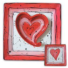 Ceramic Chip and Dip Platter. Heart-Shaped bowl. Valentines Day Paint Your Own Pottery.