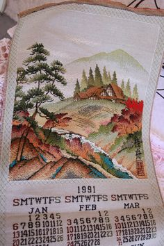 Asian Tapestry 1991 Woven Calendar KAWAI by treasurestudio on Etsy