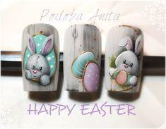 nail design for Easter 2019 Cartoon Nail Designs, Animal Nail Designs, Easter Nail Designs, Animal Nail Art, Easter Nail Art, Toe Nail Designs, Nails Design, Bunny Nails, Cat Nails