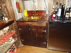 Reclaimed Hemlock bar sink. Tom Spivak