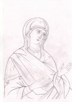 Orthodox Icons, Byzantine, Outline, Sketches, Cartoon, Black And White, Drawings, Pattern, Painting